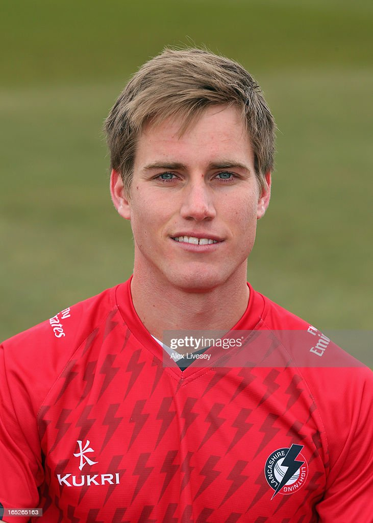 Luis Reece of Lancashire CCC wears the T20 kit during a pre-season photocall at Old Trafford on April 2, 2013 in Manchester, England.