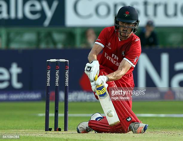 Luis Reece of Lancashire Lightning plays a shot during the NatWest T20 Blast between Derbyshire Falcons and Lancashire Lightning at The 3aaa County...