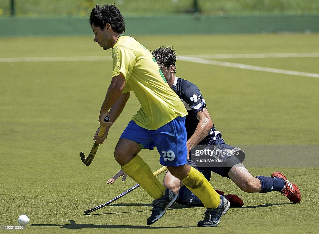 Luis Reus of Brazil in action during a match between Brazil and Chile as part of the Hockey World League - Round 2 at Complexo Esportivo de Deodoro on March 03, 2013 in Rio de Janeiro, Brazil.
