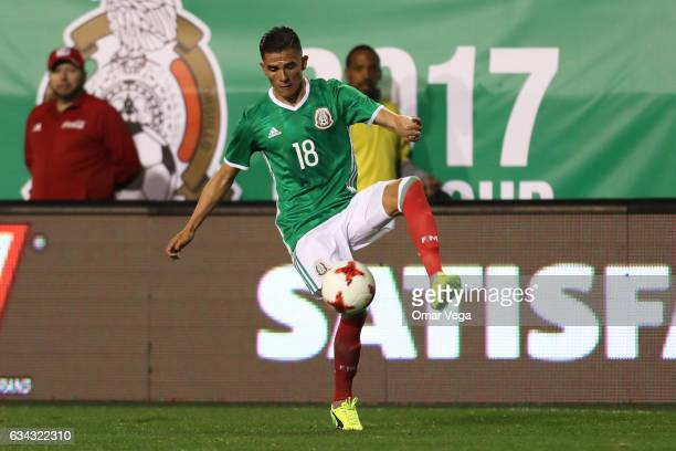 Luis Reyes of Mexico controls the ball during an International Friendly match between Mexico and Iceland at Sam Boyd Stadium on February 08 2017 in...
