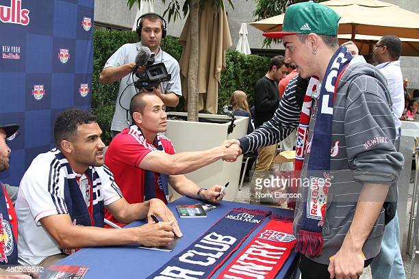 Luis Robles and Andre Akpan attend the FIFA World Cup Kickoff Viewing Party at Summer Garden Bar on June 12 2014 in New York City