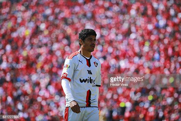 Luis Robles of Atlas looks on after receiving a red card during the 1st round match between Toluca and Atlas as part of the Torneo Clausura 2017 Liga...