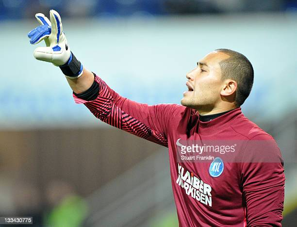Luis Robles of Karlsruher in action during the Second Bundeslga match between SC Paderbornand Karlsruher SCat the Energie Team Arena on November 18...