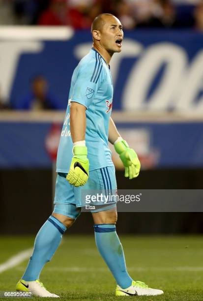 Luis Robles of New York Red Bulls directs his teammates in the second half against the DC United at Red Bull Arena on April 15 2017 in Harrison New...