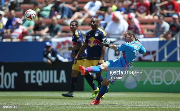 Luis Robles of New York Red Bulls kicks the ball back in play against the FC Dallas at Toyota Stadium in Frisco on May 4 2014 in Frisco Texas