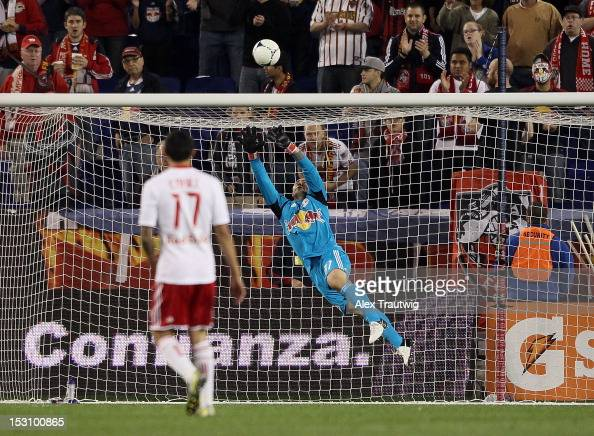 Luis Robles of New York Red Bulls makes a save against Toronto FC at Red Bull Arena on September 29 2012 in Harrison New Jersey