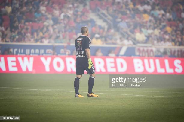 Luis Robles of New York Red Bulls stands in the smoke at the start of the MLS match between New York Red Bulls and Orlando City SC at the Red Bull...