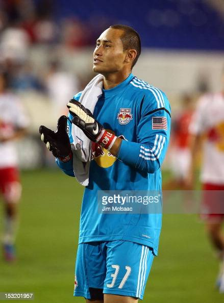 Luis Robles of the New York Red Bulls celebrates after the game against Toronto FC at Red Bull Arena on September 29 2012 in Harrison New Jersey