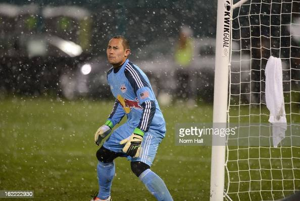Luis Robles of the New York Red Bulls gets ready to make a save against the Seattle Sounders at Kino Sports Complex on February 20 2013 in Tucson...