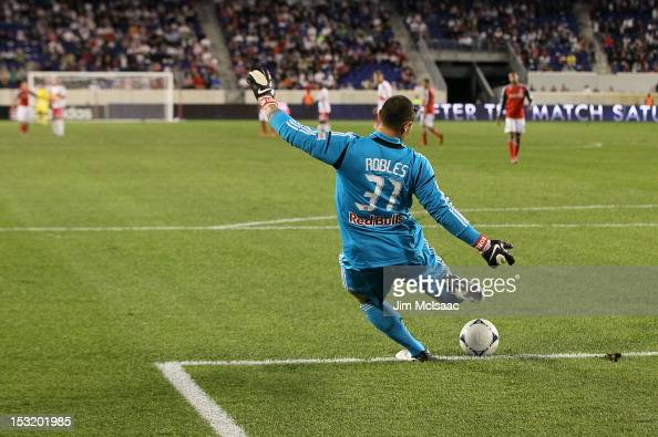Luis Robles of the New York Red Bulls in action against Toronto FC at Red Bull Arena on September 29 2012 in Harrison New Jersey