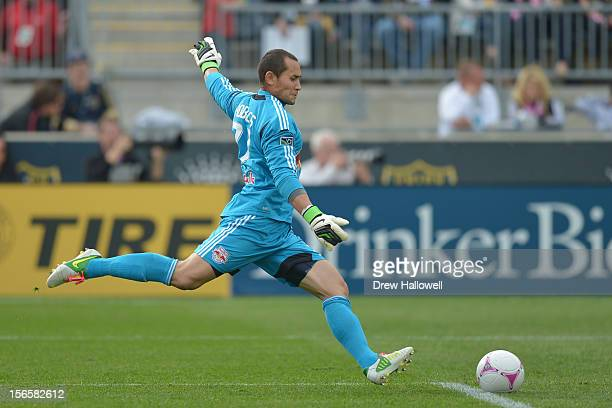 Luis Robles of the New York Red Bulls kicks the ball during the game against the Philadelphia Union at PPL Park on October 27 2012 in Chester...