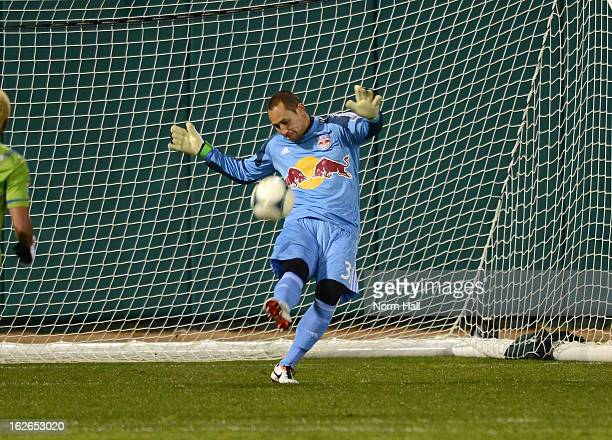 Luis Robles of the New York Red Bulls kicks the ball up field against the Seattle Sounders at Kino Sports Complex on February 20 2013 in Tucson...