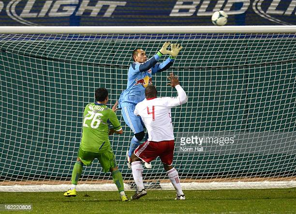 Luis Robles of the New York Red Bulls makes a save against the Seattle Sounders at Kino Sports Complex on February 20 2013 in Tucson Arizona