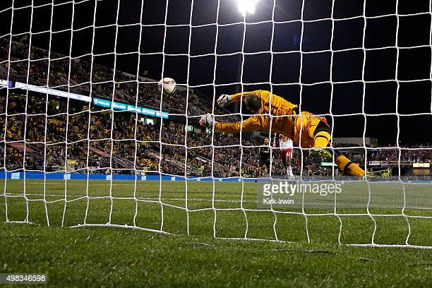 Luis Robles of the New York Red Bulls makes a save during the first half of the match against the Columbus Crew SC on November 22 2015 at MAPFRE...