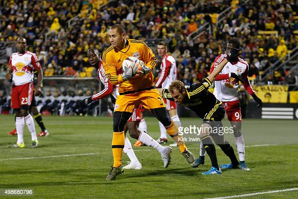 Luis Robles of the New York Red Bulls makes a save during the match against the Columbus Crew SC on November 22 2015 at MAPFRE Stadium in Columbus...