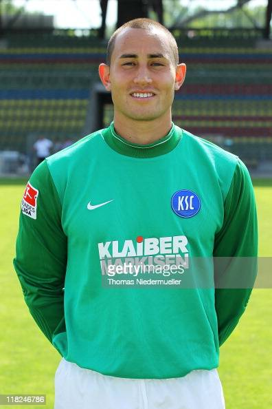 Luis Robles poses during the Second Bundesliga team presentation of Karlsruher SC at the Wildpark Stadium on July 5 2011 in Karlsruhe Germany
