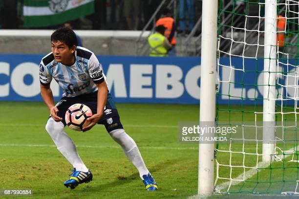Luis Rodriguez of Argentina's Atletico Tucuman celebrates his goal against Brazil's Palmeiras during their 2017 Copa Libertadores football match held...