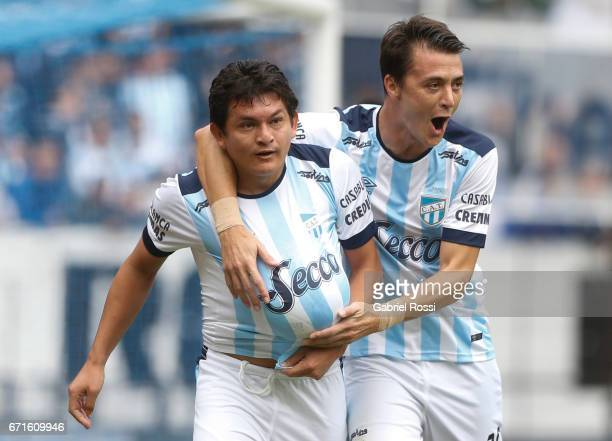 Luis Rodriguez of Atletico de Tucuman celebrates after scoring the penalty goal for his team during a match between Racing and Atletico de Tucuman as...
