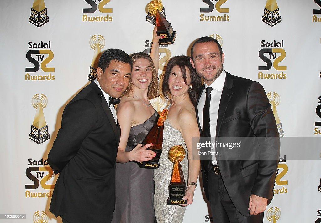 Luis Romero, Nancy Griffin, Marla Skiko and Borja Perez pose with awards at the 2013 Latin Social TV Awards at Fontainebleau Miami Beach on February 28, 2013 in Miami Beach, Florida.