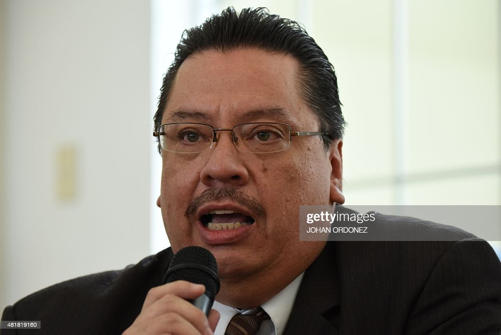 Luis Rosales lawyer of former Guatemalan dictator retired General Jose Efrain Rios Montt speaks during a press conference in Guatemala city on July...