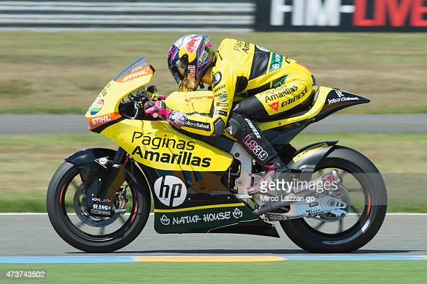 Luis Salom of Spain and Pagina Amarillas HP40 heads down a straight during the Moto2 race during the MotoGp of France Race at on May 17 2015 in Le...