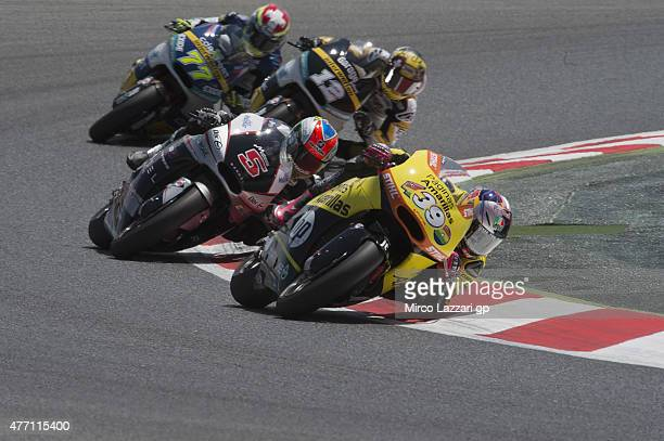 Luis Salom of Spain and Pagina Amarillas HP40 leads the field during the Moto2 race during the MotoGp of Catalunya Race at Circuit de Catalunya on...