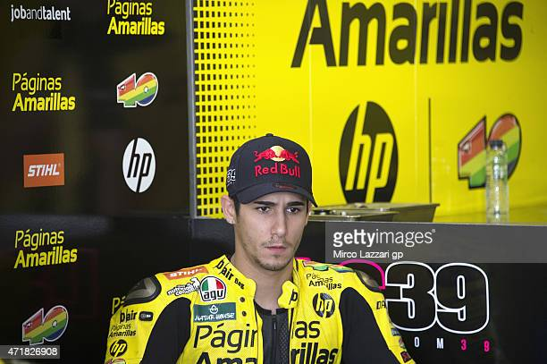 Luis Salom of Spain and Pagina Amarillas HP40 looks on in box during the MotoGp of Spain Free Practice at Circuito de Jerez on May 1 2015 in Jerez de...