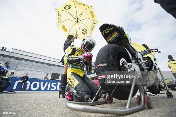 Luis Salom of Spain and Pagina Amarillas HP40 prepares to start on the grid during the Moto2 race during the MotoGP of Spain Race at Motorland Aragon...
