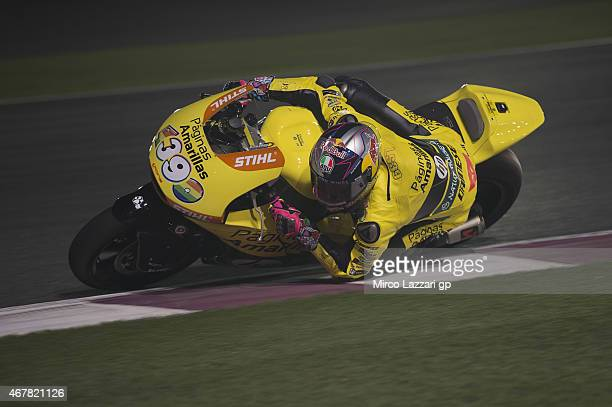 Luis Salom of Spain and Pagina Amarillas HP40 rounds the bend during the MotoGp of Qatar Free Practice at Losail Circuit on March 27 2015 in Doha...