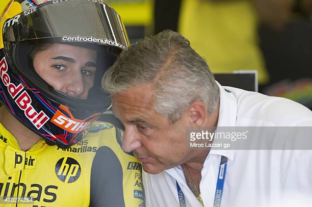 Luis Salom of Spain and Pagina Amarillas HP40 speaks in box during the qualifying practice during the MotoGp of Italy Qualifying at Mugello Circuit...