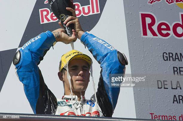 Luis Salom of Spain and Pons HP40 celebrates the third place on the podium at the end of the Moto2 race during the MotoGp of Argentina Race at on...