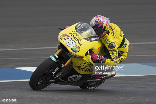 Luis Salom of Spain and Pons HP40 heads down a straight during the MotoGp Red Bull US Indianapolis Grand Prix Free Practice at Indianapolis Motor...