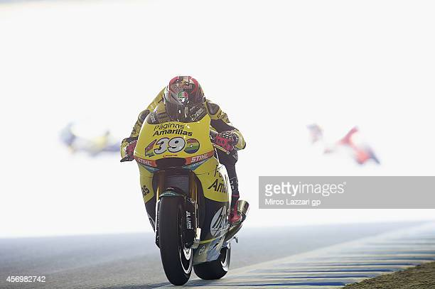 Luis Salom of Spain and Pons HP40 heads down a straight during the MotoGP Of Japan Free Practice at Twin Ring Motegi on October 10 2014 in Motegi...