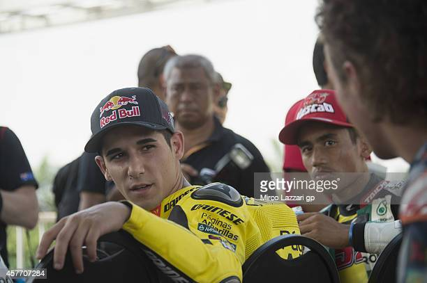 Luis Salom of Spain and Pons HP40 looks on during the preevent 'MotoGP riders the Mini Bikes race' during the MotoGP Of Malaysia Preview at Sepang...