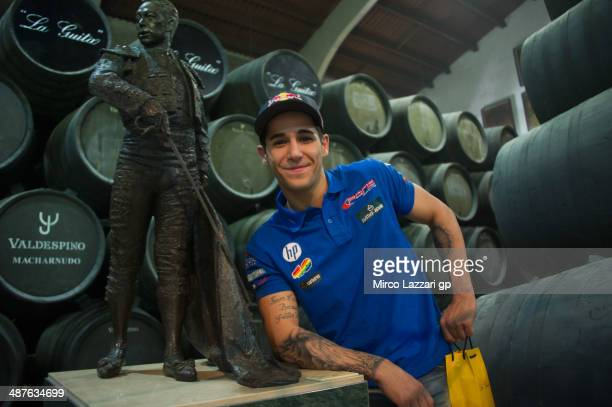Luis Salom of Spain and Pons HP40 poses during the preevent 'MotoGP riders visit Bodegas Jos Estevez in Jerez' during the MotoGp of Spain Previews...