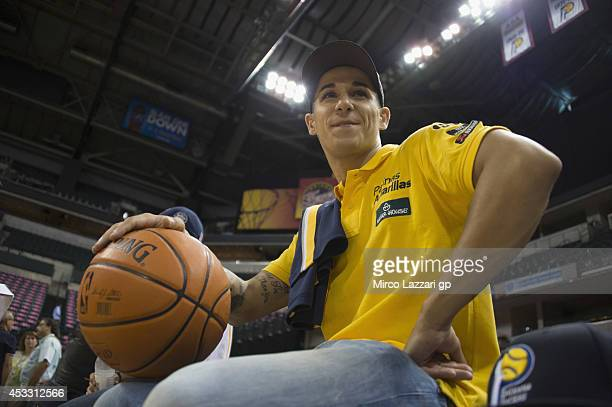 Luis Salom of Spain and Pons HP40 poses during the preevent 'riders visit the Bankers Life Fieldhouse home of the NBAÕs Indiana Pacers' during the...