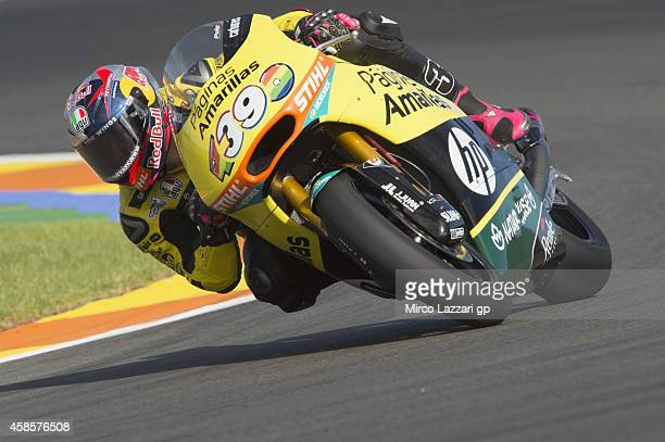 Luis Salom of Spain and Pons HP40 rounds the bend during the MotoGP of Valencia Free Practice at Ricardo Tormo Circuit on November 7 2014 in Valencia...