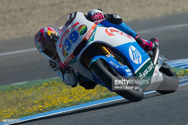Luis Salom of Spain and Pons HP40 rounds the bend during the MotoGp of Spain Free Practice at Circuito de Jerez on May 2 2014 in Jerez de la Frontera...