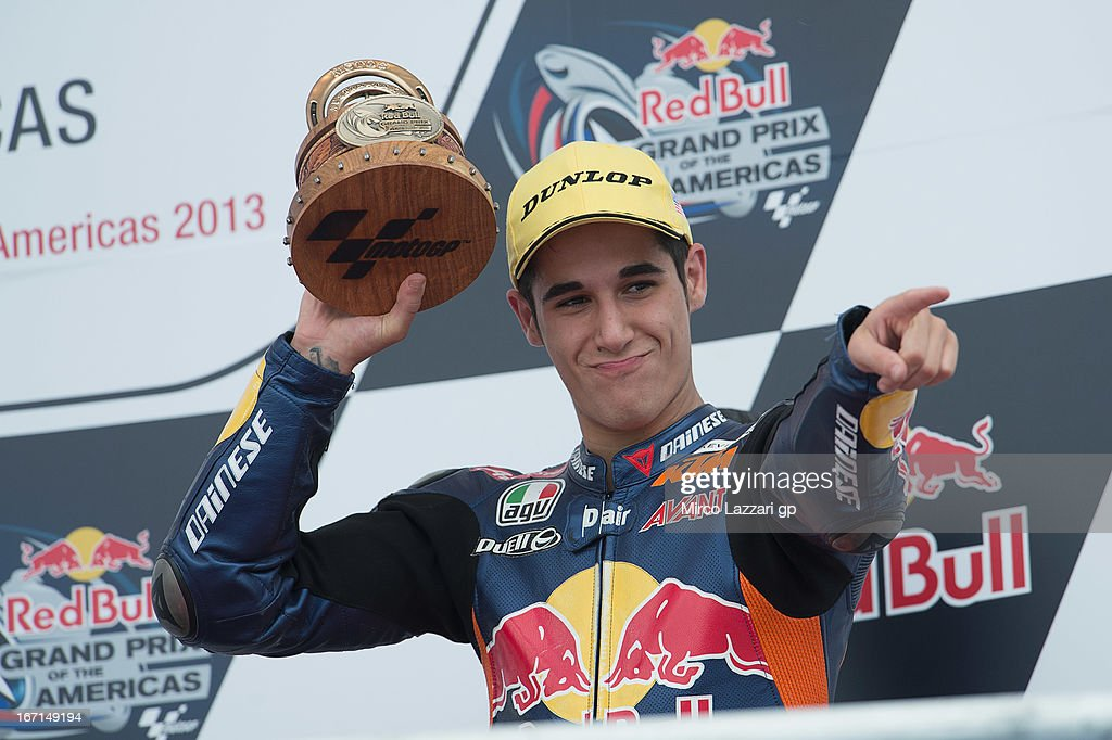 Luis Salom of Spain and Red Bull KTM Ajo celebrates on the podium the third place in Moto3 class at the end of the Moto3 race during the MotoGp Red Bull U.S. Grand Prix of The Americas - Race at Circuit of The Americas on April 21, 2013 in Austin, Texas.