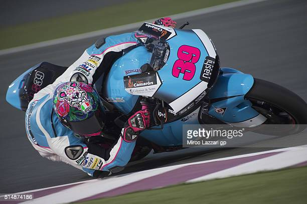 Luis Salom of Spain and SAG Team rounds the bend during Moto2 And Moto 3 Tests at Losail Circuit on March 11 2016 in Doha Qatar