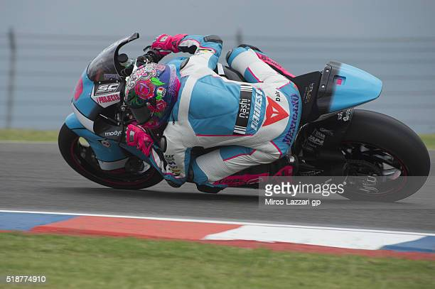 Luis Salom of Spain and SAG Team rounds the bend during the MotoGp of Argentina Qualifying at Termas De Rio Hondo Circuit on April 02 2016 in Rio...