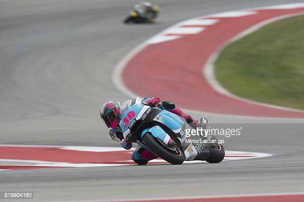 Luis Salom of Spain and SAG Team rounds the bend during the MotoGp Red Bull US Grand Prix of The Americas Free Practice at Circuit of The Americas on...