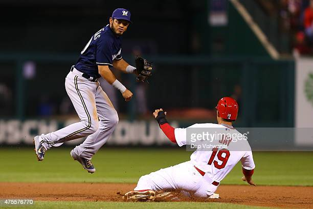 Luis Sardinas of the Milwaukee Brewers turns a double play over Jon Jay of the St Louis Cardinals in the seventh inning at Busch Stadium on June 1...