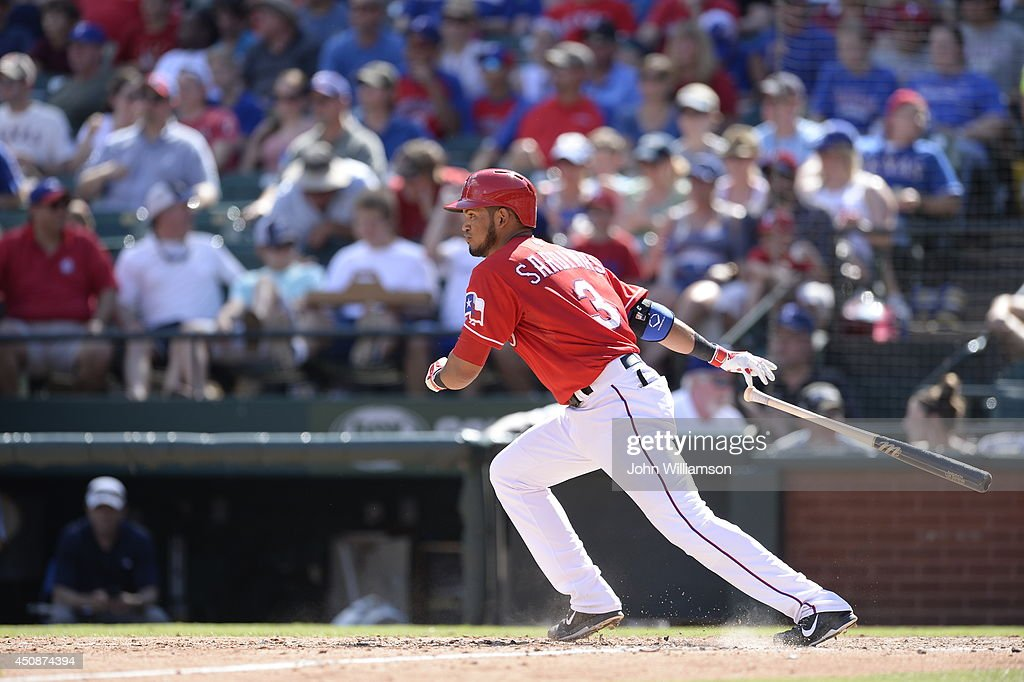 Luis Sardinas #3 of the Texas Rangers bats against the Cleveland Indians at Globe Life Park in Arlington on June 7, 2014 in Arlington, Texas. The Cleveland Indians defeated the Texas Rangers 8-3.