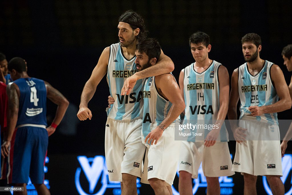 <a gi-track='captionPersonalityLinkClicked' href=/galleries/search?phrase=Luis+Scola&family=editorial&specificpeople=2464749 ng-click='$event.stopPropagation()'>Luis Scola</a> of Argentina celebrates with Facundo Campazzo after winning a second stage match between Argentina and Dominican Republic as part of the 2015 FIBA Americas Championship for Men at Palacio de los Deportes on September 08, 2015 in Mexico City, Mexico.