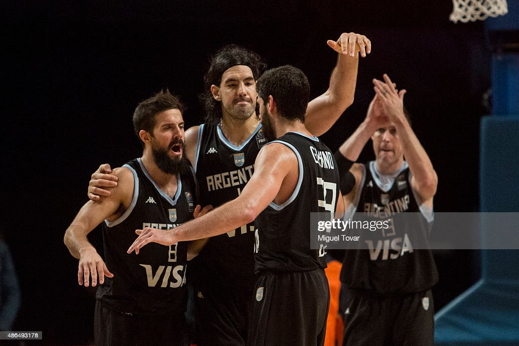 <a gi-track='captionPersonalityLinkClicked' href=/galleries/search?phrase=Luis+Scola&family=editorial&specificpeople=2464749 ng-click='$event.stopPropagation()'>Luis Scola</a> of Argentina celebrates with teammates after winning a match between Venezuela and Argentina as part of the 2015 FIBA Americas Championship for Men at Palacio de los Deportes on September 04, 2015 in Mexico City, Mexico.