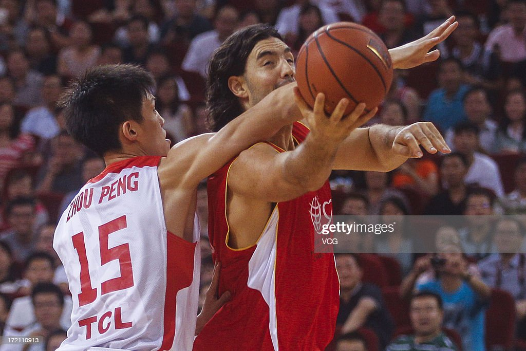 <a gi-track='captionPersonalityLinkClicked' href=/galleries/search?phrase=Luis+Scola&family=editorial&specificpeople=2464749 ng-click='$event.stopPropagation()'>Luis Scola</a> of Phoenix Suns shoots the ball during the 2013 Yao Foundation Charity Game between China and the NBA Stars at MasterCard Center on July 1, 2013 in Beijing, China.