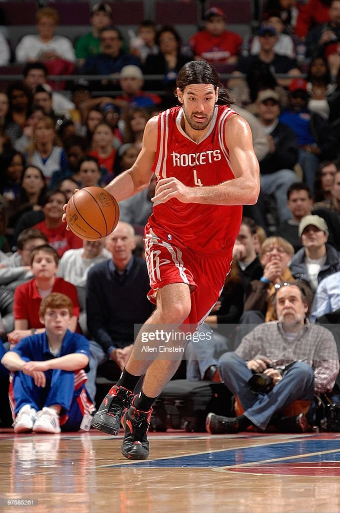 <a gi-track='captionPersonalityLinkClicked' href=/galleries/search?phrase=Luis+Scola&family=editorial&specificpeople=2464749 ng-click='$event.stopPropagation()'>Luis Scola</a> #4 of the Houston Rockets drives against the Detroit Pistons during the game on March 7, 2010 at The Palace of Auburn Hills in Auburn Hills, Michigan. The Pistons won 110-107 in overtime.