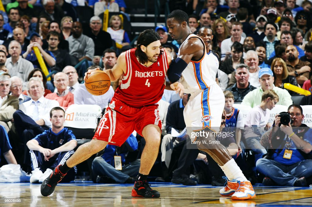 <a gi-track='captionPersonalityLinkClicked' href=/galleries/search?phrase=Luis+Scola&family=editorial&specificpeople=2464749 ng-click='$event.stopPropagation()'>Luis Scola</a> #4 of the Houston Rockets drives to the basket against Jeff Green #22 of the Oklahoma City Thunder during the game at the Ford Center on March 24, 2010 in Oklahoma City, Oklahoma.