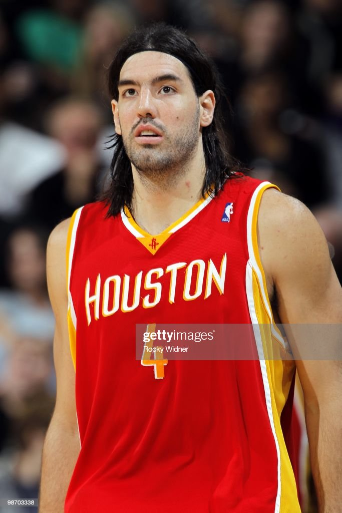 Luis Scola #4 of the Houston Rockets looks on during the game against the Sacramento Kings at Arco Arena on April 12, 2010 in Sacramento, California. The Rockets won 117-107.